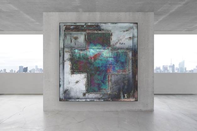 Blank concrete wall in the interior with copyspace